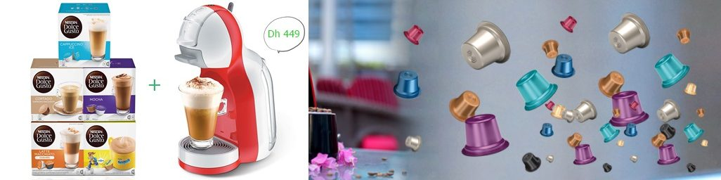 Nescafe Dolce Gusto Mini Me Coffee Machine, Red + 5 Capsule Boxes (80 Capsules) for Just Dh 449