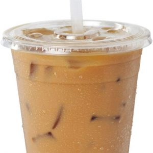 Clear Plastic Cups with Flat Slotted Lids for Iced Cold