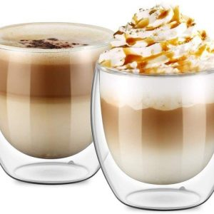 Double Walled Glasses for Cappuccino Coffee Cups set of 2