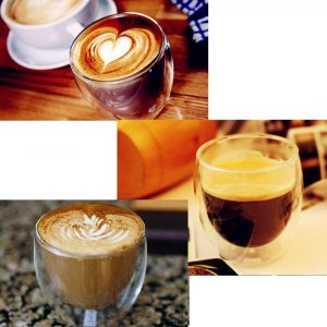 Double Walled Glasses for Cappuccino Coffee Cups set of 2 for Hot and Cold Drinks
