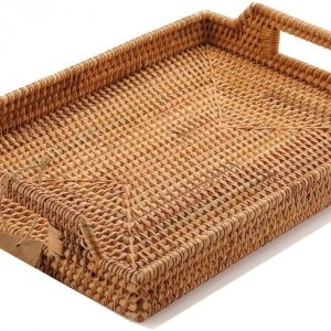 Hand-Woven Rattan Rectangular Serving Tray, Coffee Table