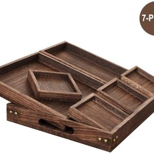 Ationgle 7 Pieces Rectangular Wooden Serving Trays Set for Coffee Table